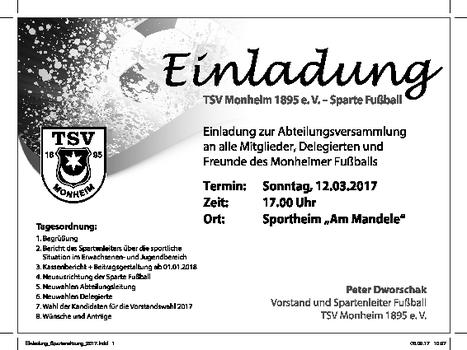tsv monheim: fussball, Einladung